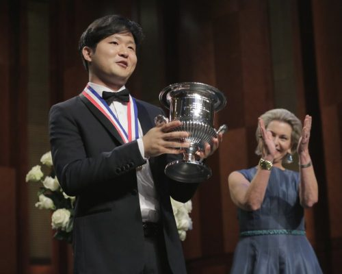 Yekwon Sunwoo, 2017 Cliburn gold medalist, with cup